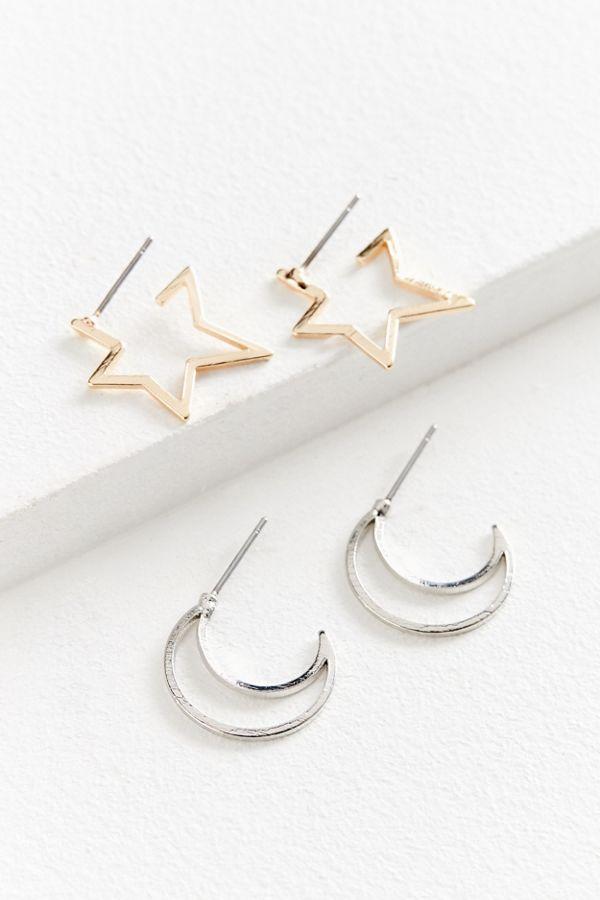 Moon Stars Mini Hoop Earring Set
