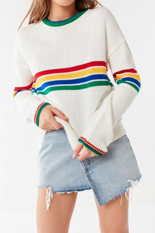 Slide View: 2: UO Bailey Rainbow Striped Sweater