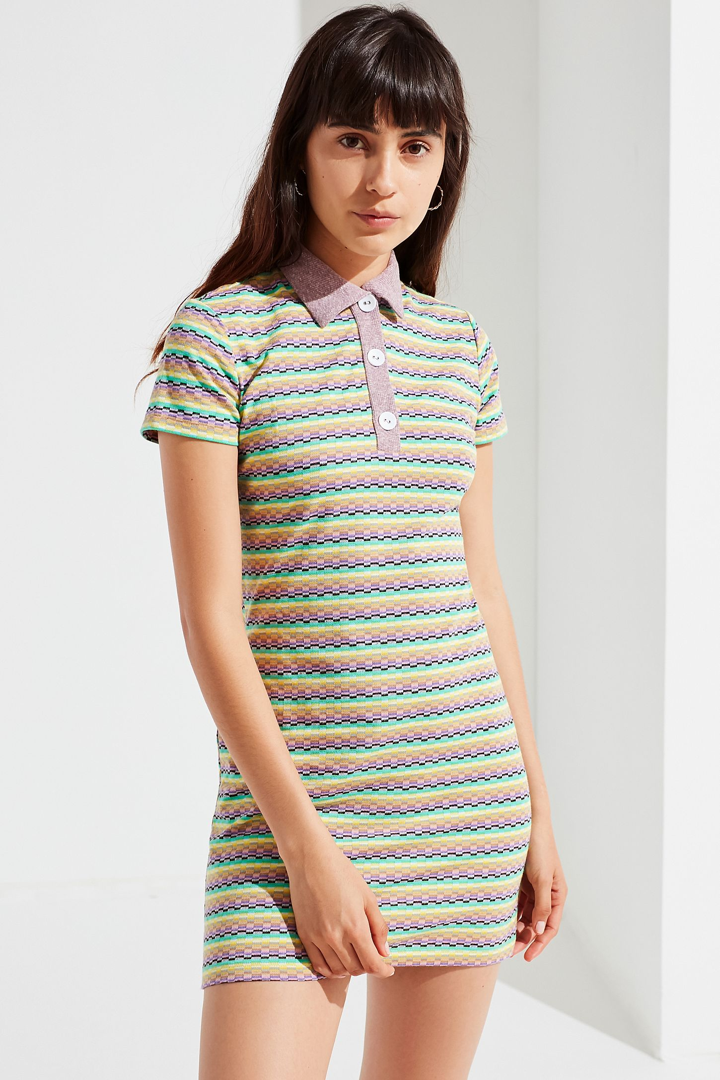Uo Knit Polo Shirt Dress Urban Outfitters