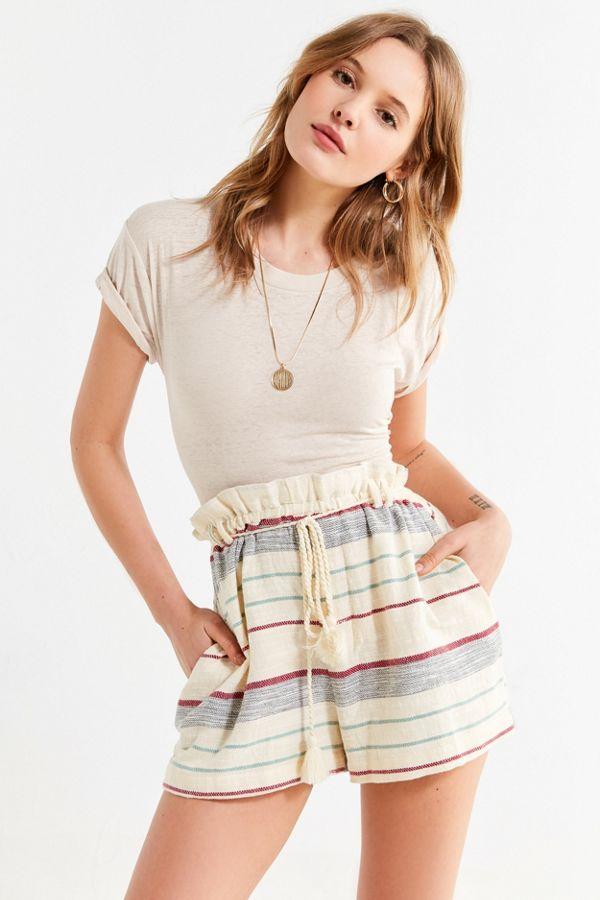 Uo Striped Paperbag Short