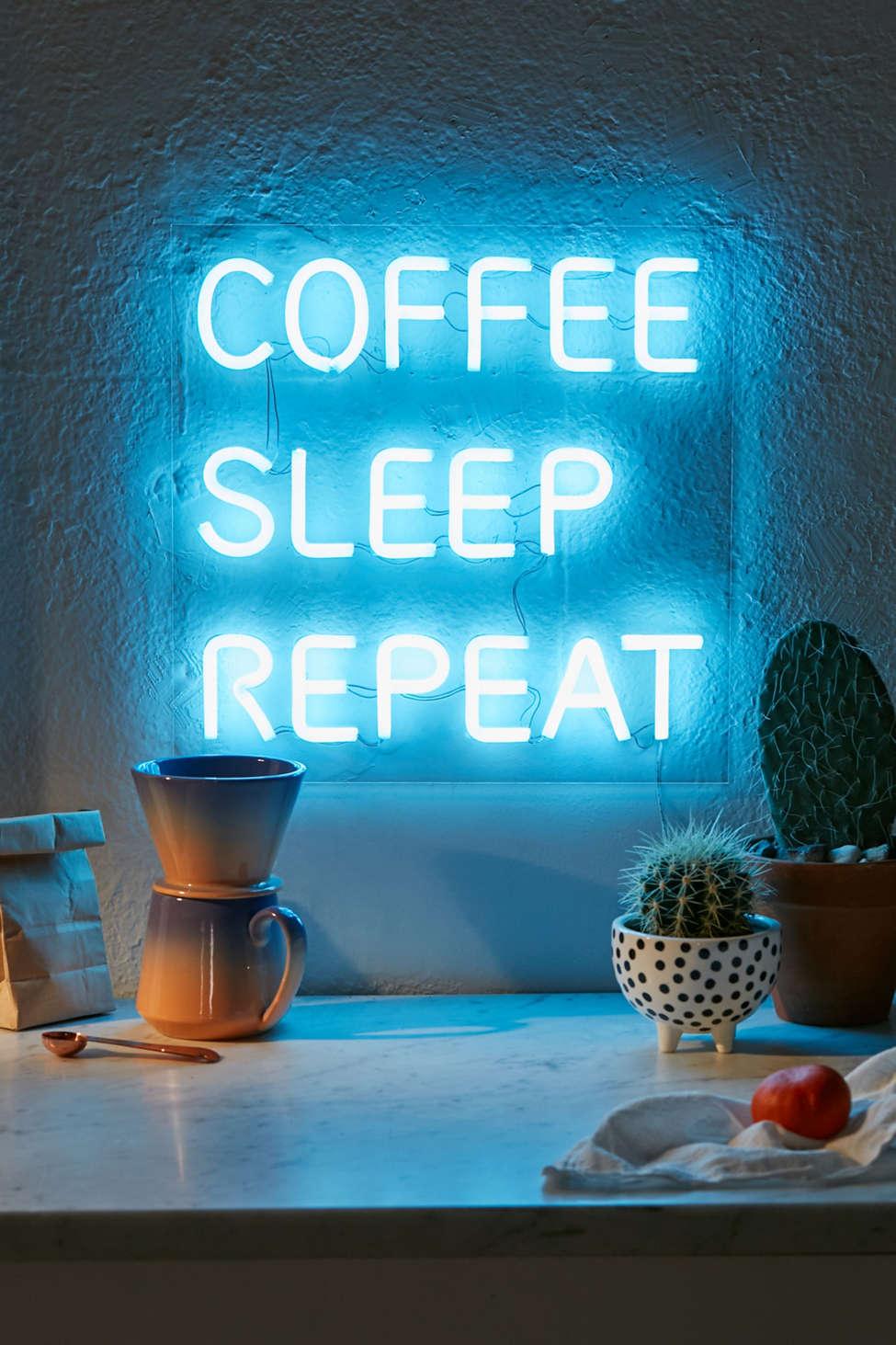 Slide View: 1: Coffee, Sleep, Repeat LED Neon Sign