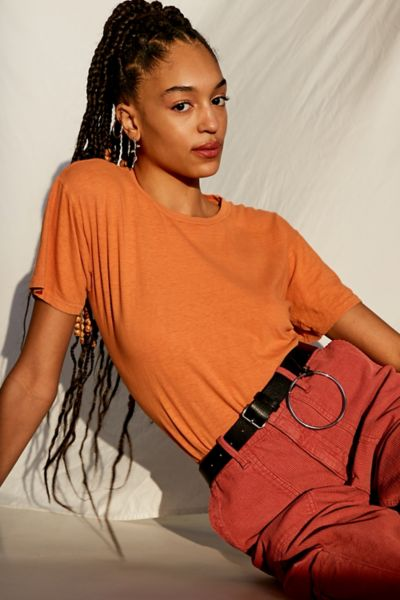 Vintage Washed Overdyed Boyfriend Tee - Rust S at Urban Outfitters
