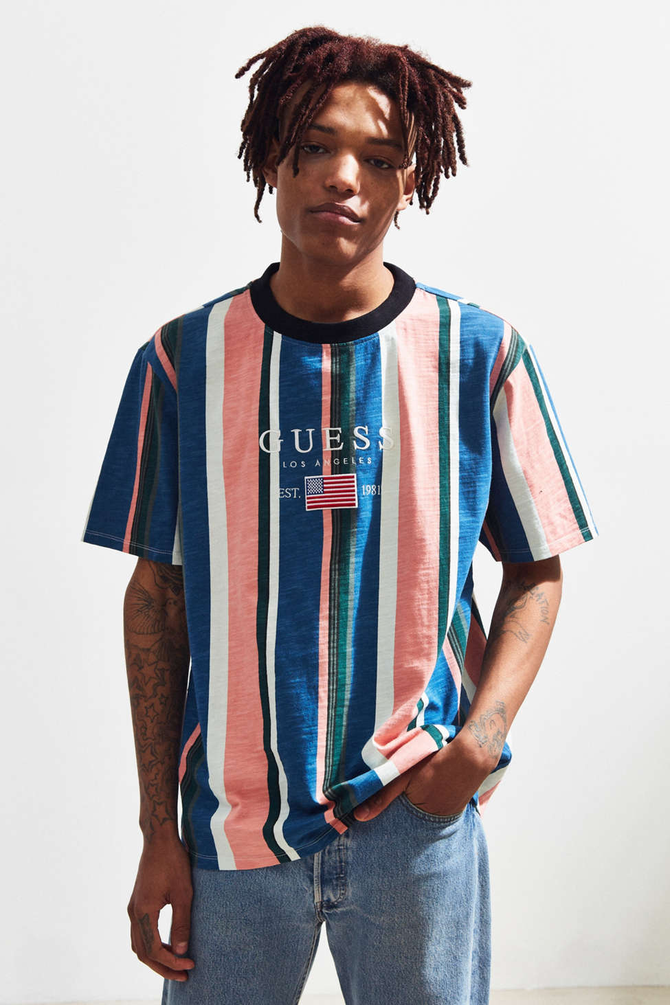 Guess David Sayer Stripe Tee Urban Outfitters