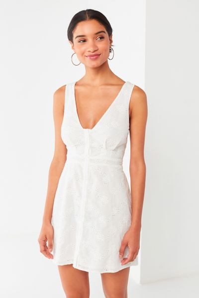 Uo Eyelet Button Down Mini Dress by Urban Outfitters