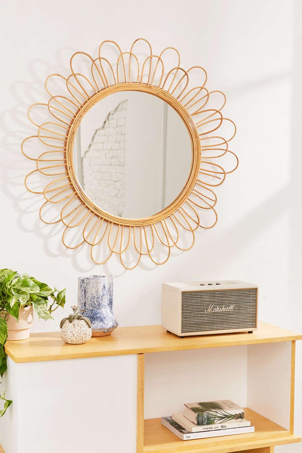 Slide View: 1: Raquel Rattan Sunflower Mirror