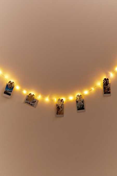 Leaf photo clip string lights