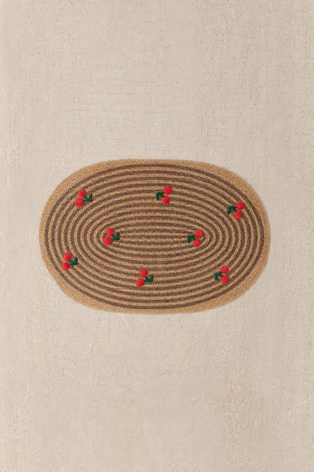 Embroidered Cherry Oval Rug