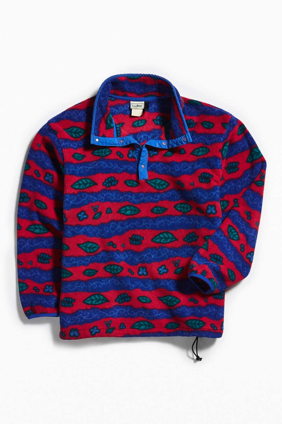Vintage Ll Bean Red Multi Polar Fleece Jacket Urban Outfitters