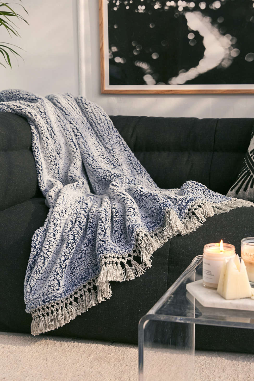 Slide View: 5: Amped Fleece Fringe Trim Throw Blanket
