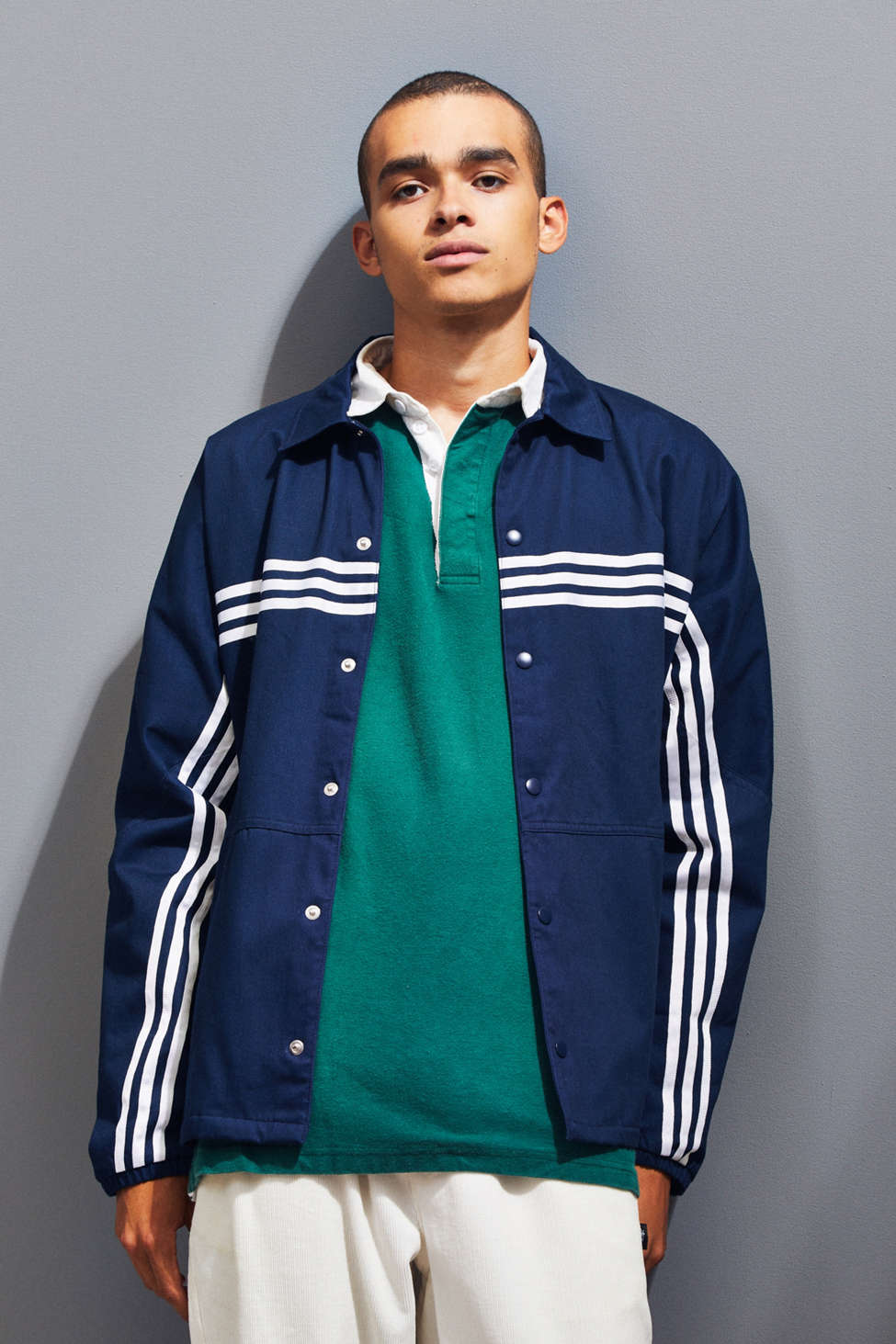 Adidas 3 Stripe Button Down Jacket Urban Outfitters
