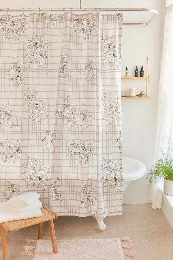 Magnolia Grid Shower Curtain