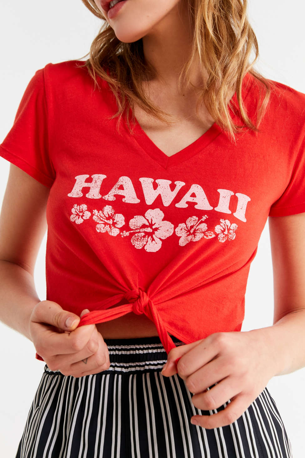Slide View: 1: Truly Madly Deeply Hawaii Tie-Front Tee