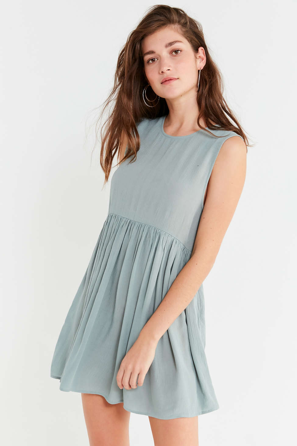 Slide View: 1: UO Drop-Waist Babydoll Frock Dress