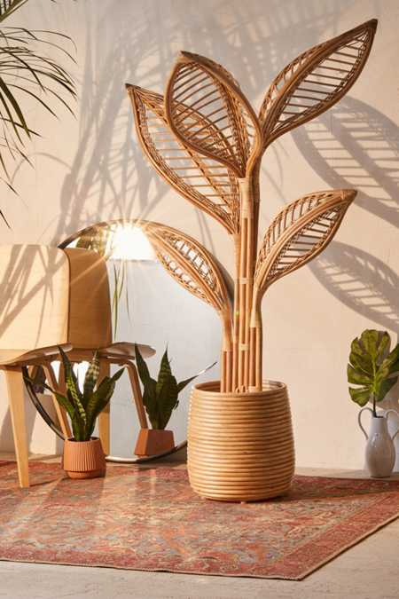 Elisa rattan potted faux plant