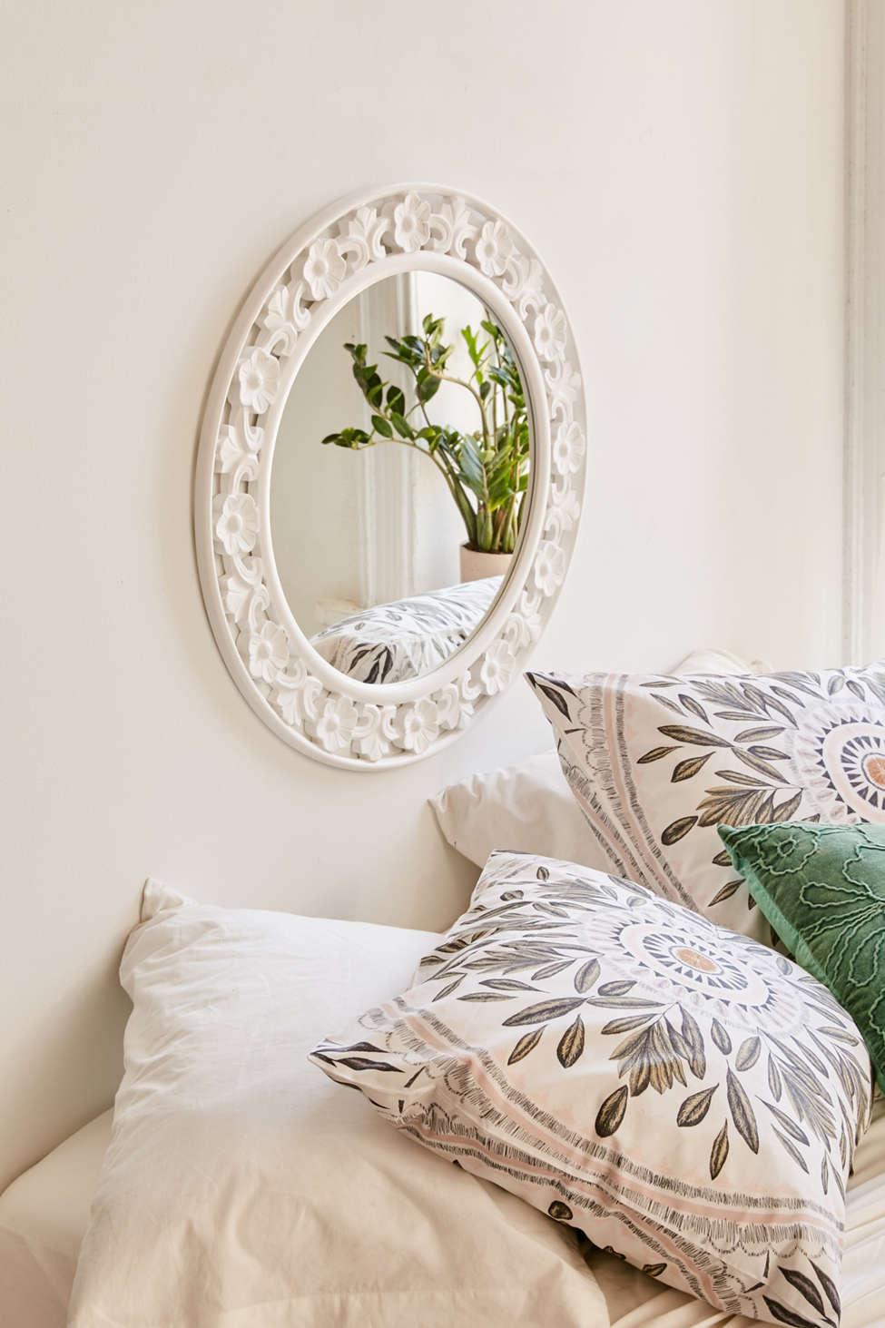 Slide View: 1: Keya Carved Floral Mirror