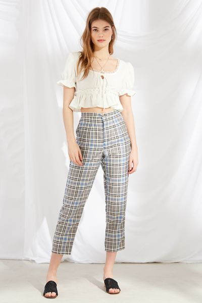 Urban Renewal Remnants High-Rise Plaid Pant - White XS at Urban Outfitters
