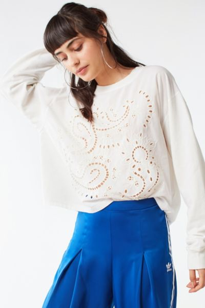 Uo Eliot Eyelet Long Sleeve Tee by Urban Outfitters