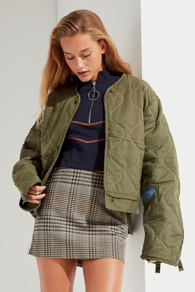 Vintage Denim Patch Quilted Liner Jacket - Olive One Size at Urban Outfitters