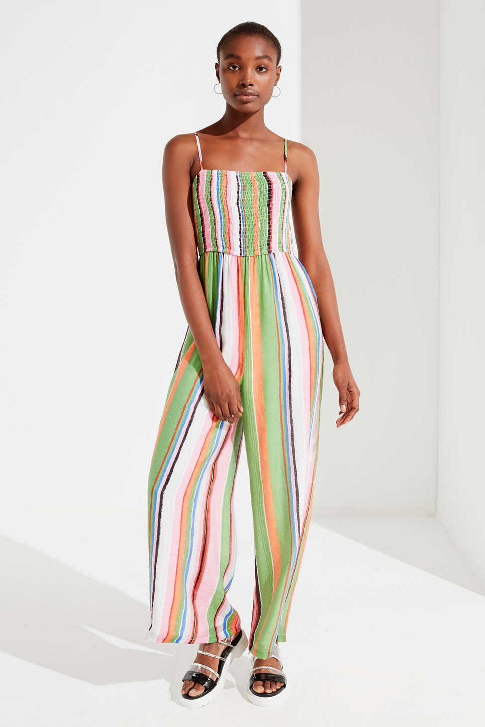 Uo Smocked Striped Jumpsuit Urban Outfitters