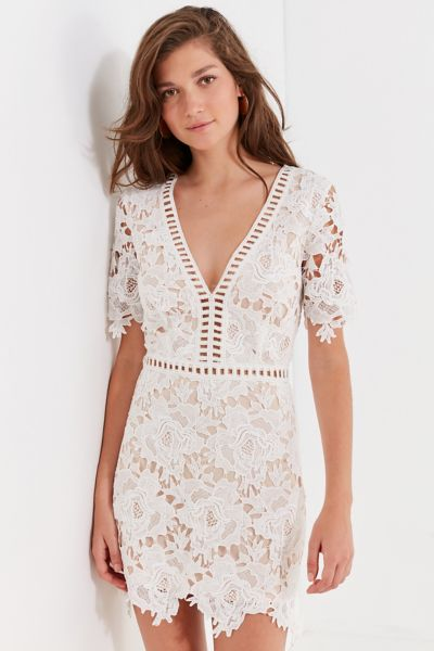 Uo Floral Lace Ladder Mini Dress by Urban Outfitters