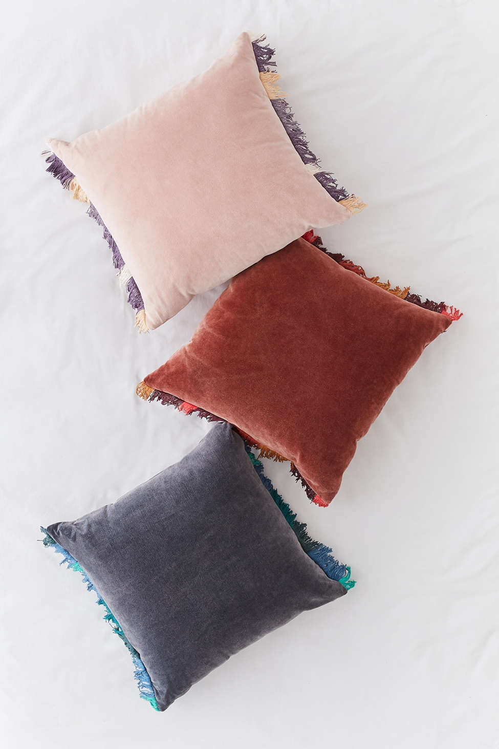 Slide View: 4: Veronica Velvet Fringe Throw Pillow