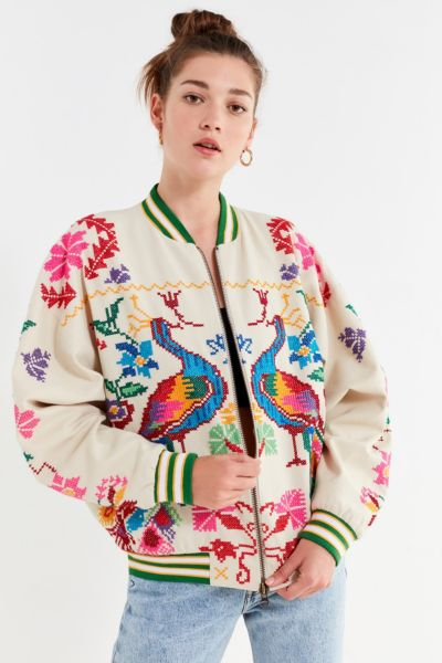 Uo Peacock Paradise Cross Stitch Bomber Jacket by Urban Outfitters
