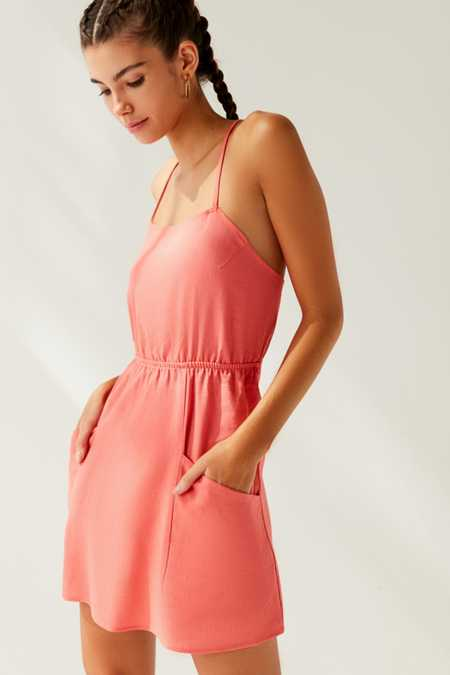 Urban Renewal Remnants Strappy Linen Mini Dress