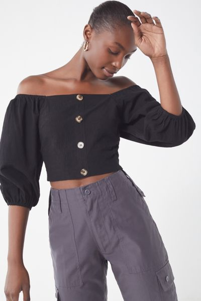 J.O.A Blouson Off The Shoulder Cropped Top by J.O.A.