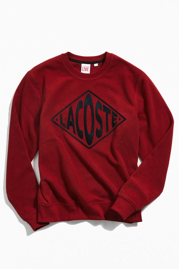 lacoste embroidered logo crew neck sweatshirt urban outfitters