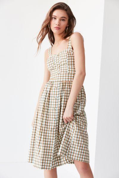 2b7b381f Shoptagr | J.O.A. Button Down Plaid Midi Dress by J.O.A.