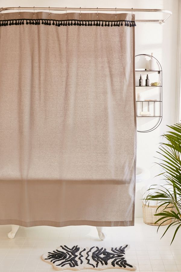 Slide View 1 Washed Cotton Tassel Shower Curtain