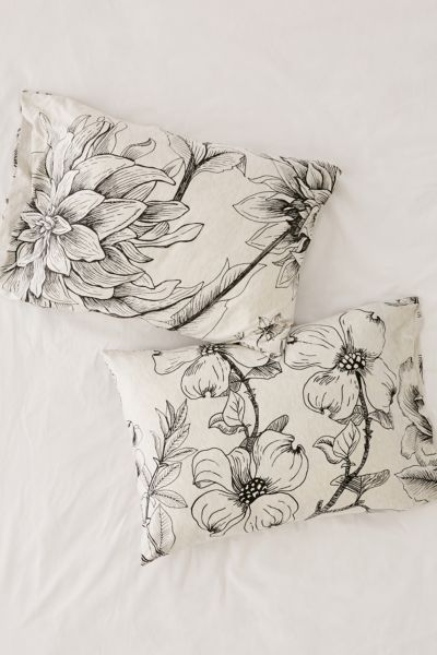 Makenna Etched Floral Jersey Pillowcase Set by Urban Outfitters