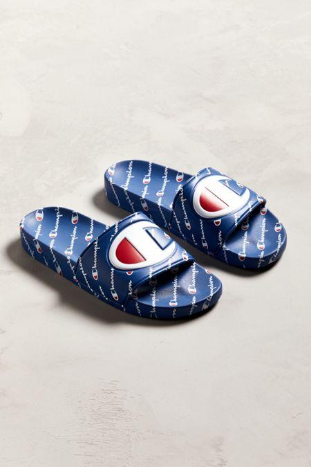 champion big logo monogram slide sandal