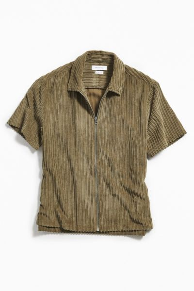 Uo Corduroy Short Sleeve Zip Shirt by Urban Outfitters