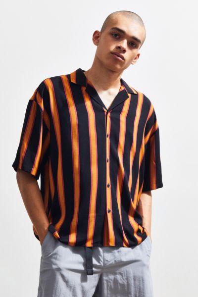 Loom Retro Stripe Short Sleeve Button Down Shirt by Loom