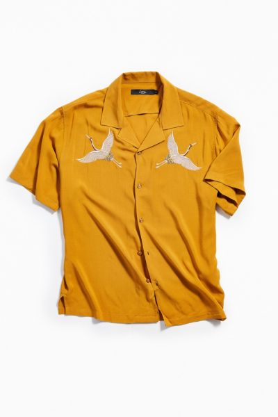 Uo Honey Embroidered Crane Vacation Shirt by Urban Outfitters