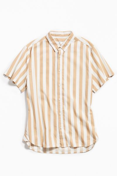 Loom Striped Short Sleeve Button Down Shirt by Loom