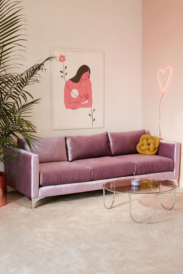 slide view 1 chamberlin velvet sofa - Pink Velvet Sofa