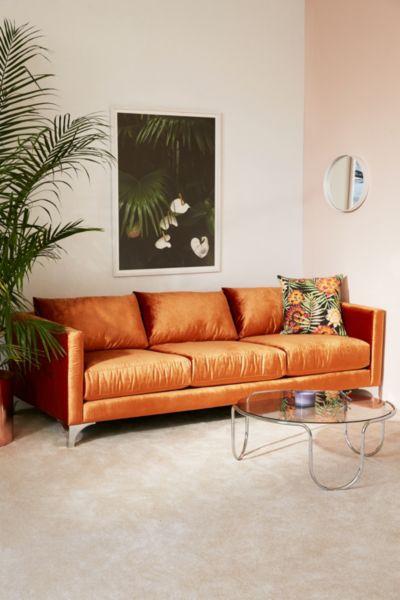 Chamberlin Velvet Sofa - Burnt Orange One Size at Urban Outfitters