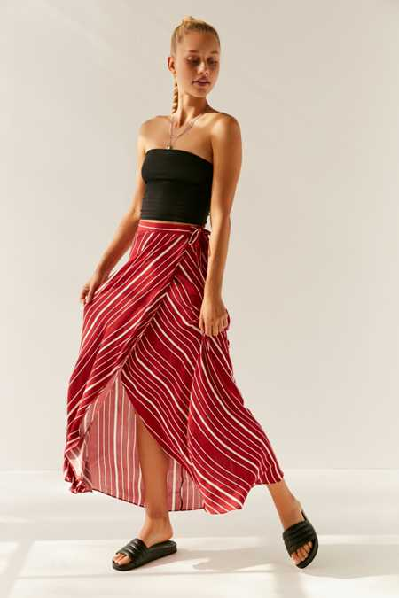 UO Isabella Striped Maxi Wrap Skirt