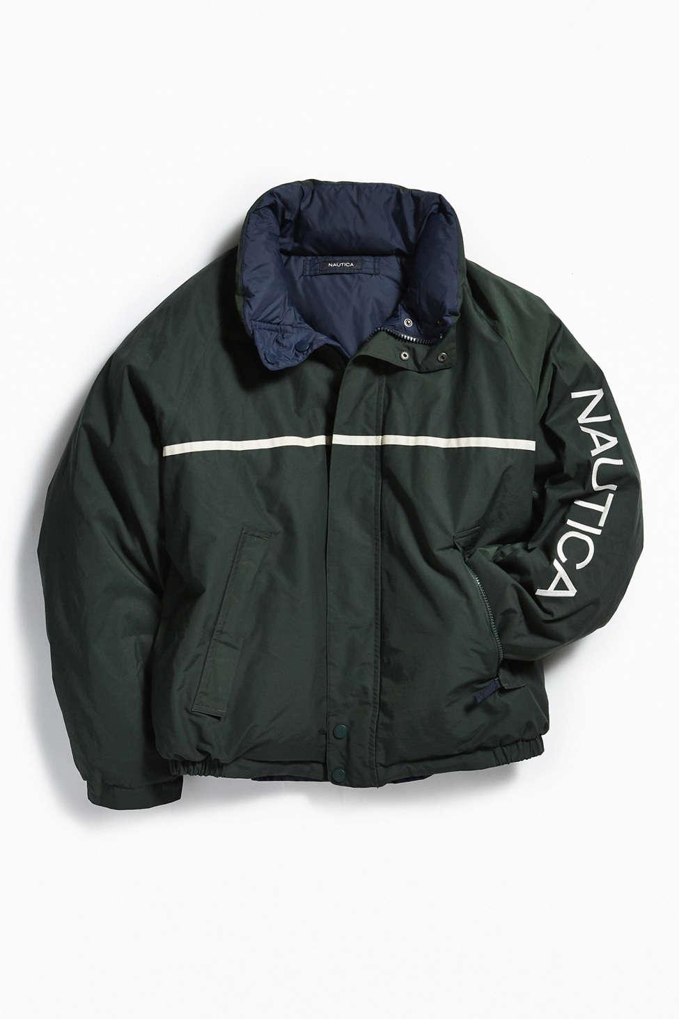 Vintage Nautica Dark Green Reversible Puffer Jacket Urban