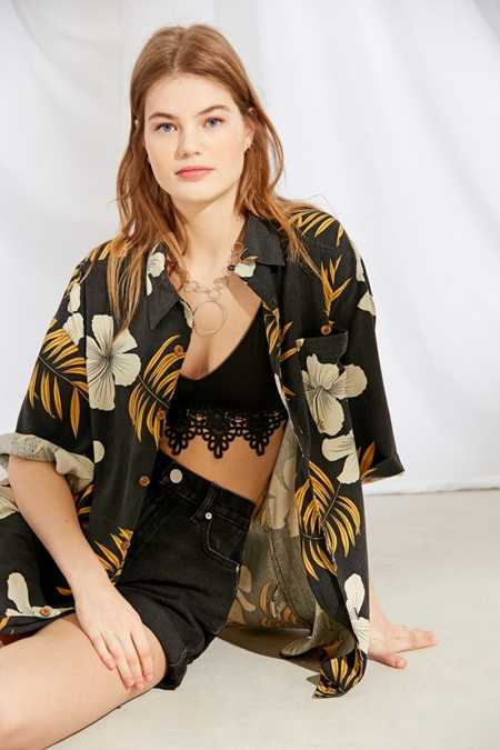 Vintage Oversized Tropical Print Shirt
