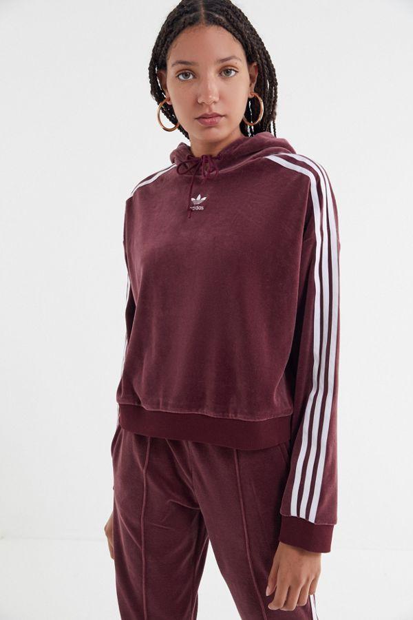 Slide View  1  adidas Velvet Cropped Hoodie Sweatshirt 2ccf28847da6