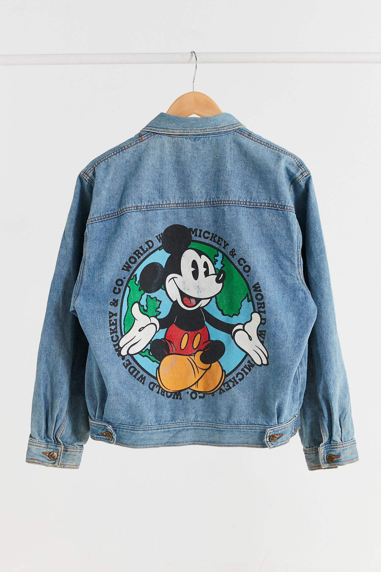 Vintage 90s Mickey Mouse Printed Denim Trucker Jacket Urban Long Hem Double Tap To Zoom