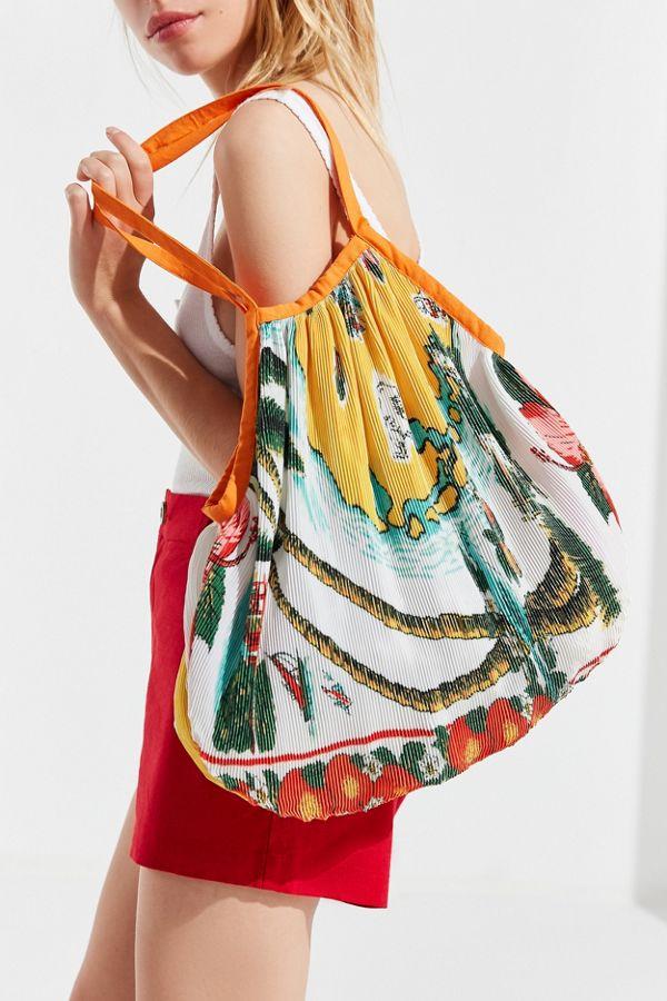f0d5fc526d Printed Plisse Pleated Shopper Tote Bag
