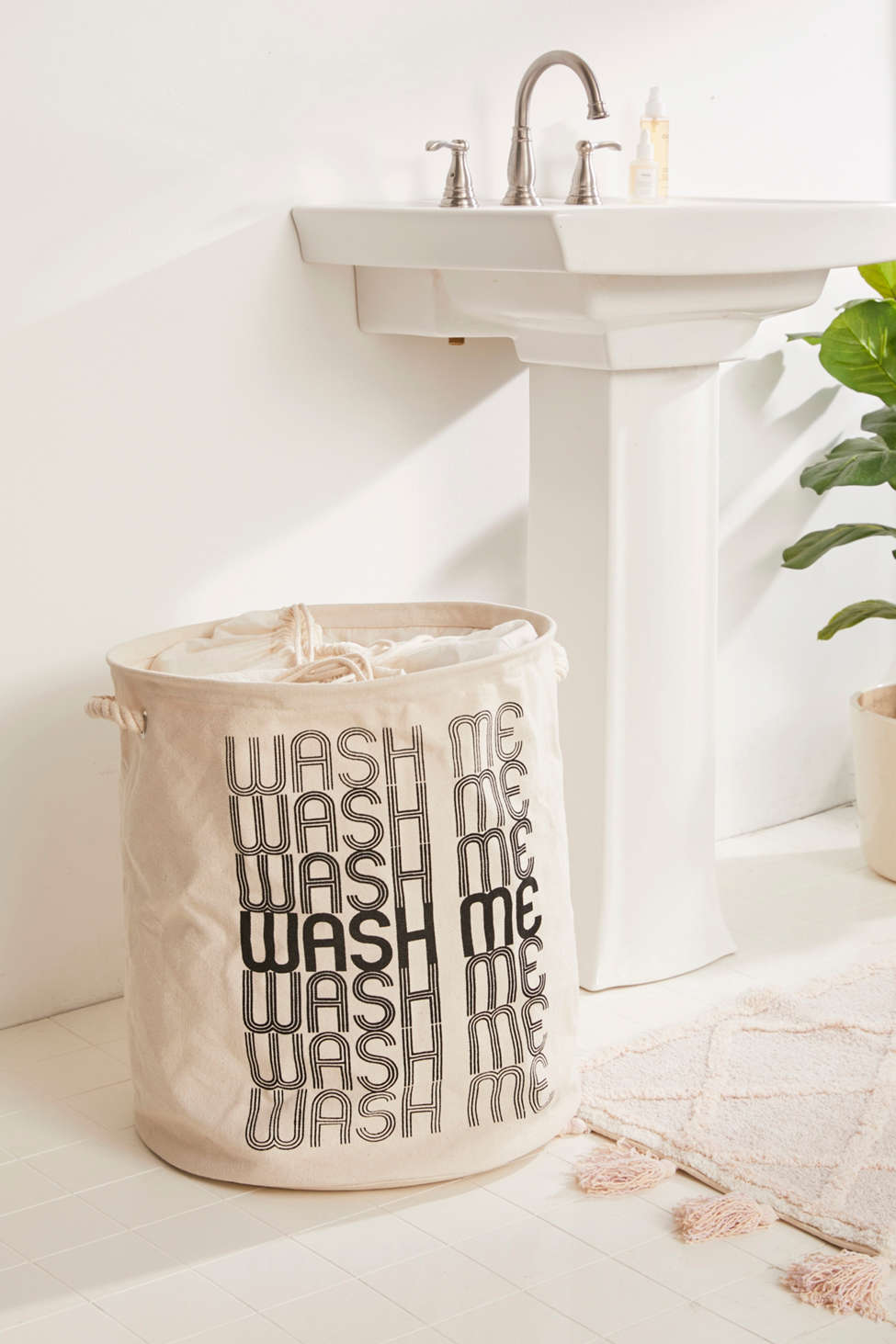 Slide View: 1: Wash Me Printed Canvas Laundry Bag