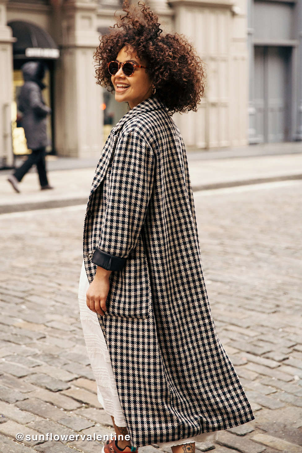 UO Checkered Longline Overcoat