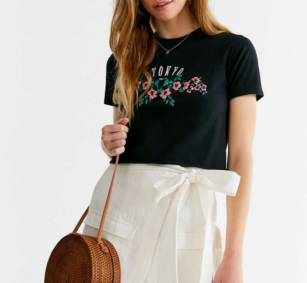 Slide View: 2: Embroidered Tokyo Cropped Tee