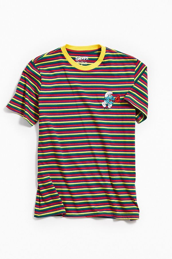 Embroidered Smurf Stripe Tee Urban Outfitters