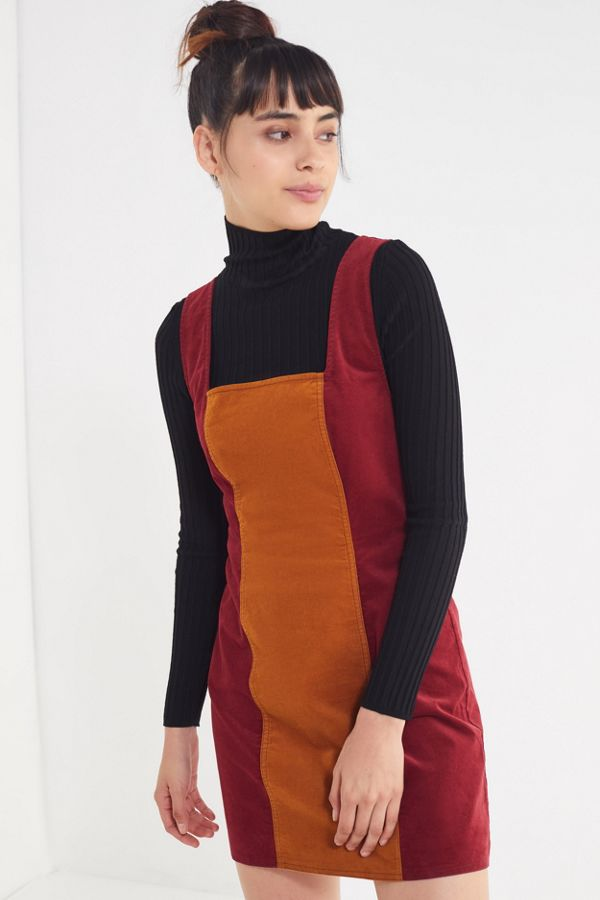 Uo Taylor Uncut Corduroy Colorblock Dress Urban Outfitters